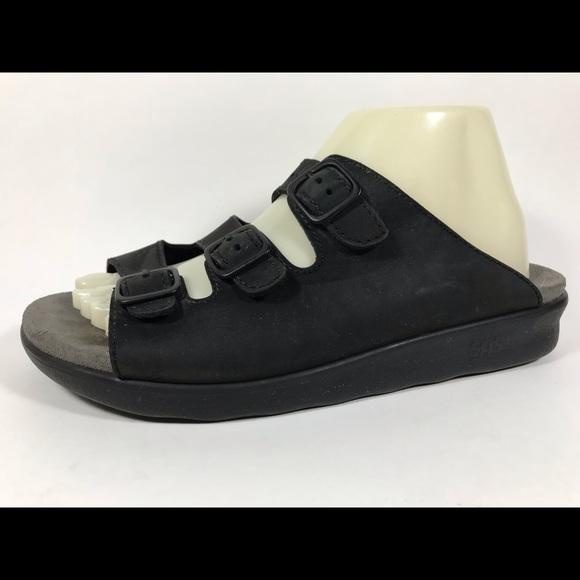d0207e3f48be SAS Black Leather Slide Sandals Women s Sz 10 N. M 5b76e2fd7c979dc965190bb3